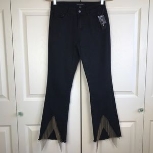 Juliette Chain Fringe Ankle Detail Black Jeans 4